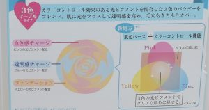 ヒロインメイクビューティーチャージCCパウダーの3色ピグメント