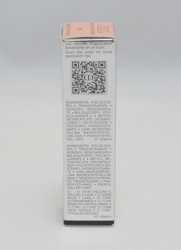 ディオールフィックスイットカラー200アプリコットの箱側面