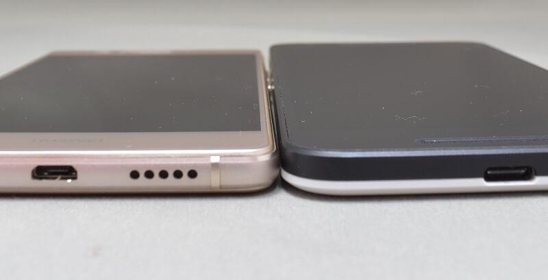 Huawei P9 LITEとNEXUS5Xの薄さを比較