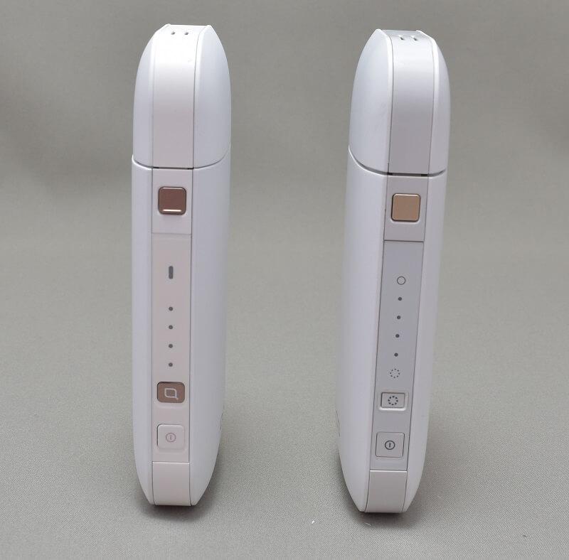 新型アイコス「iQOS 2.4 Plus」と旧型アイコスのポケットチャージャーの電源ボタンがある面の違い