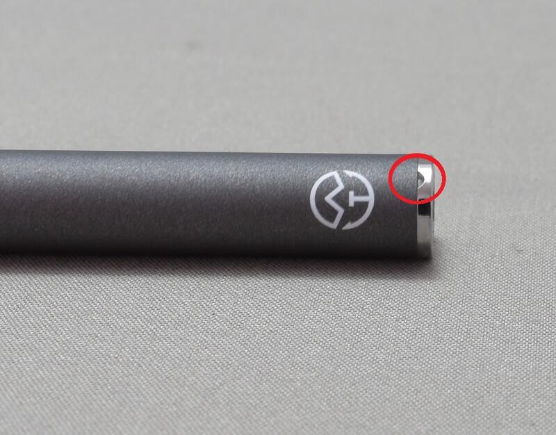 プルームテックの互換バッテリー「Ocean-C」の先っぽにある窓