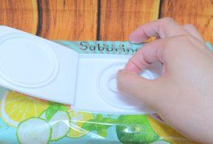 サボリーノ / 目ざまシート (ミンティーグレープフルーツの香り)のふたの開け方1