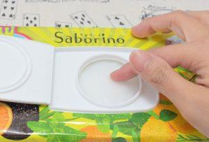 サボリーノ/目ざまシート(フルーティーハーブの香り)の表面はビニールでフタされてます