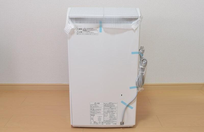 パナソニックの衣類乾燥除湿機「F-YHPX200-S」の裏側