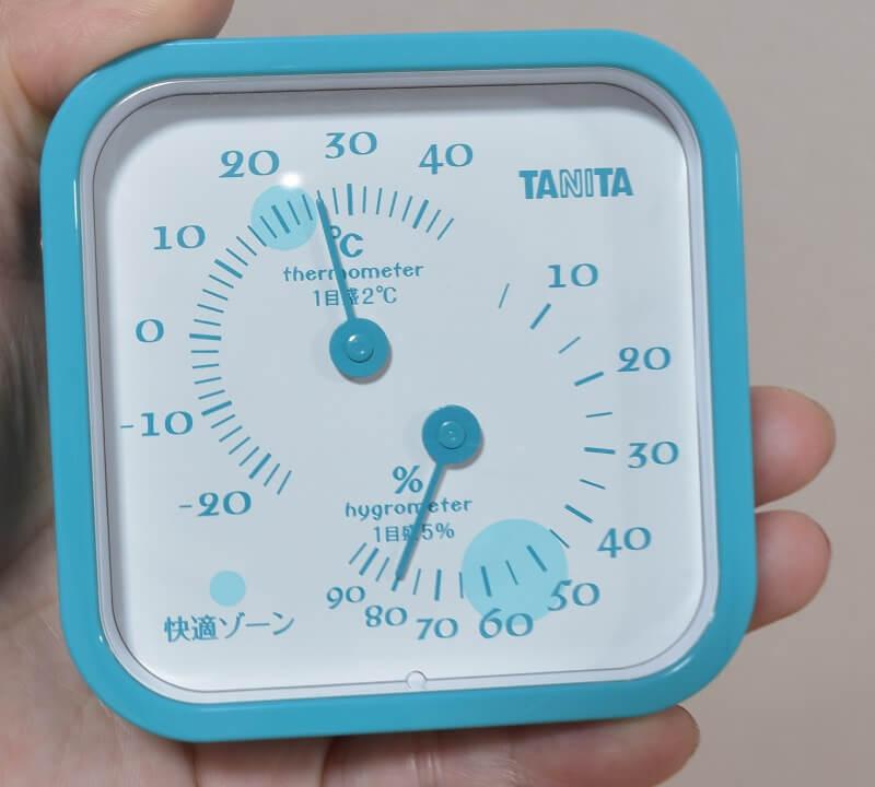 「お部屋まるごとモード」を使う前の湿度計の様子