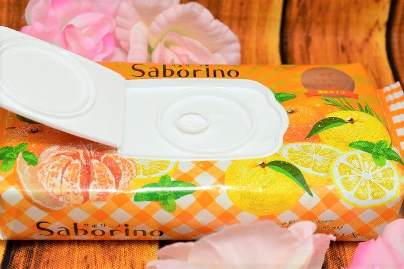 サボリーノ 目ざまシート 贅沢果実の濃密タイプ(ゆずシトラスの香り)もパッケージのふたを開けてみた