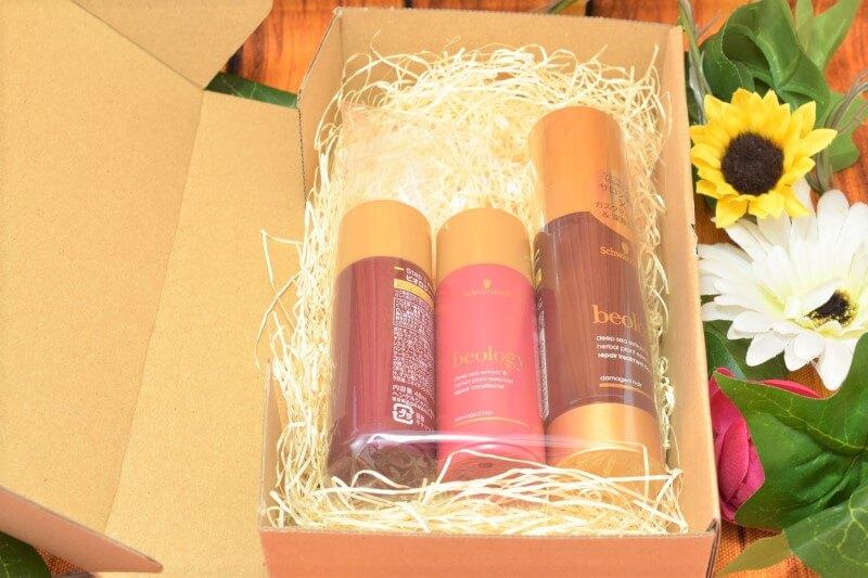 シュワルツコフ ビオロジー リペア ヘアトリートメント ブースターのプレゼントが届いた箱の中にある現品たち