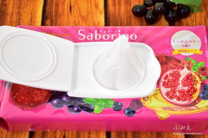 サボリーノの期間限定目ざまシート 完熟果実の高保湿タイプ(ミックスベリーの香り)パッケージからマスクを出してみた