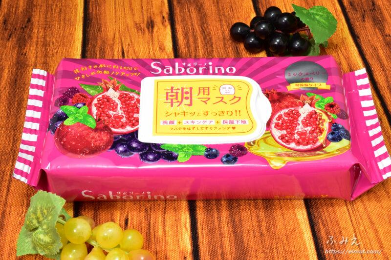 サボリーノの期間限定目ざまシート 完熟果実の高保湿タイプ(ミックスベリーの香り)パッケージ正面