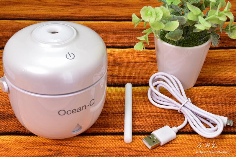 Ocean-Cの「卓上超音波USB加湿器」の付属品