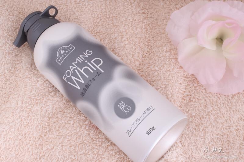 トップバリュ FOAMING Whip 泡洗顔フォーム 炭入り(グレープフルーツの香り)本体正面