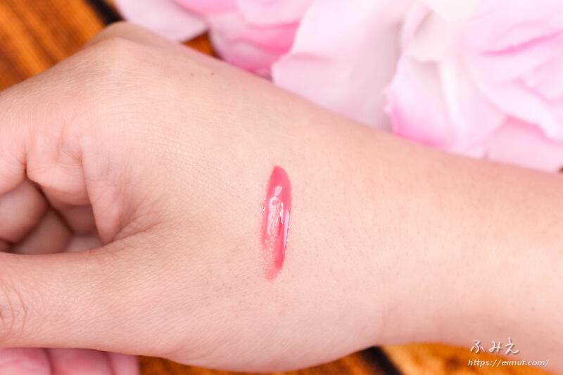 リップデコ プランパーティント #03(ピーチコーラル) を手の甲に塗ってみた