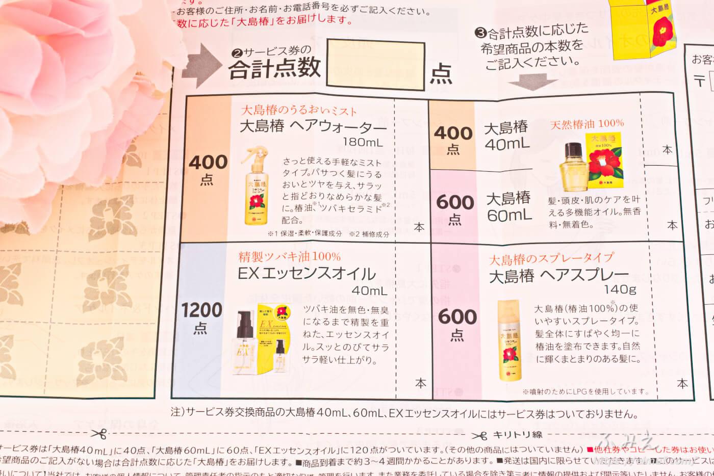 大島椿 のサービス券を張る台紙と商品