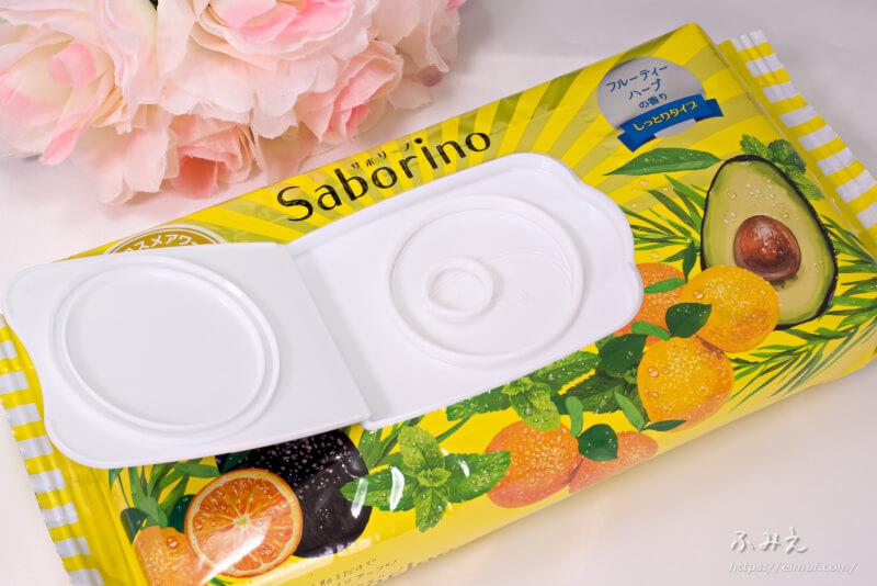 サボリーノ 目ざまシート しっとりタイプ(フルーティーハーブ) パッケージのフタを開けてみた