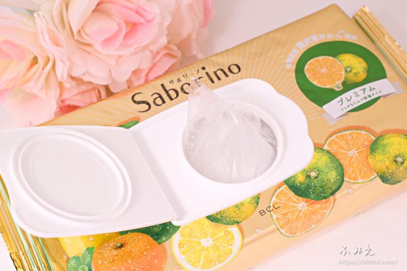 サボリーノ 目ざまシート プレミアム リッチなミルク保湿タイプ(青みかんの香り) フィルムを引っ張り出してみた