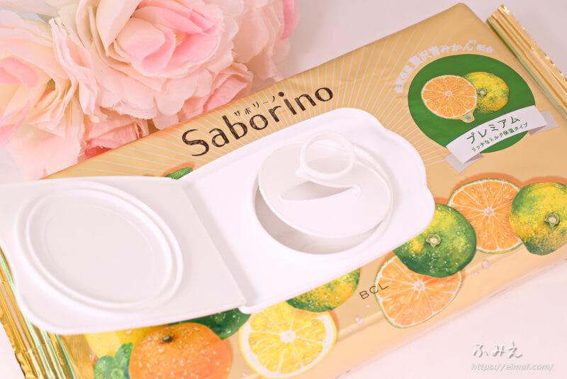 サボリーノ 目ざまシート プレミアム リッチなミルク保湿タイプ(青みかんの香り) 内フタを開けてみた