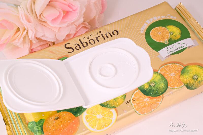 サボリーノ 目ざまシート プレミアム リッチなミルク保湿タイプ(青みかんの香り) フタを開けてみた