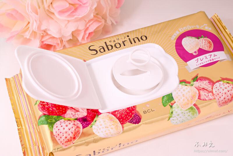 サボリーノ 目ざまシート プレミアム リッチなミルク保湿タイプ(白いちごの香り) 内フタを開けてみた