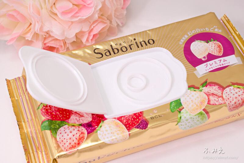 サボリーノ 目ざまシート プレミアム リッチなミルク保湿タイプ(白いちごの香り) フタを開けてみた