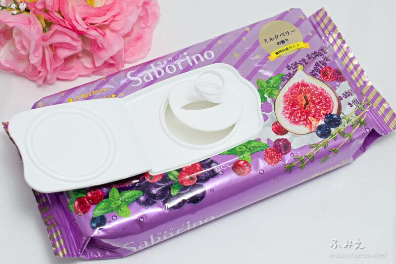 サボリーノお疲れさマスク (ミルクベリーの香り) パッケージの内ふたを開けてみた