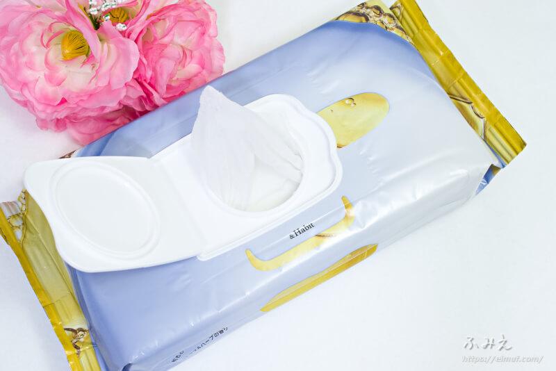 &Habit ブラックティーコンブチャシートマスク パッケージの乾燥防止フィルムを取り出すとマスクが出てきた