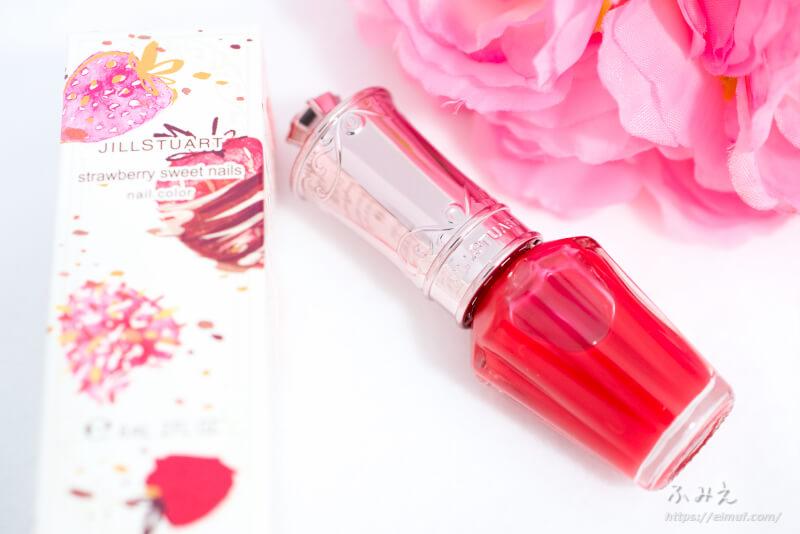 ジルスチュアートのストロベリースイーツネイルズが可愛い!#125(toffee strawberry)は鮮やかないちごシロップカラー!