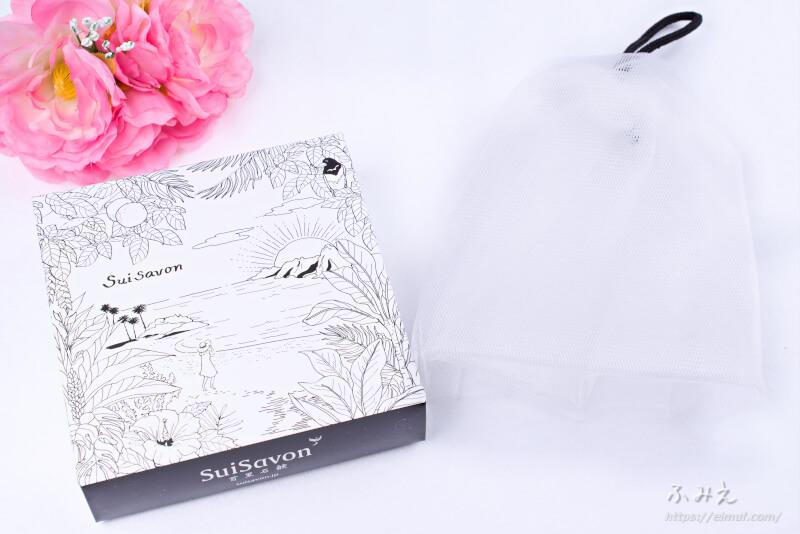 首里石鹸 ボタニカルハンドメイドソープ CUBE石鹸 8つセット の箱と泡立てネット