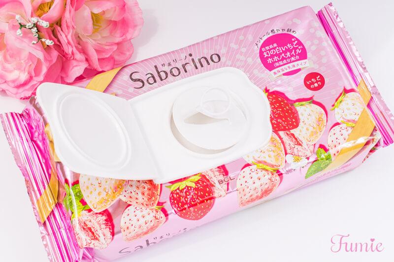 サボリーノ 目ざまシート 朝プレミアム 高保湿な乳液タイプ(いちごの香り) 内蓋をくるっと開けてみた