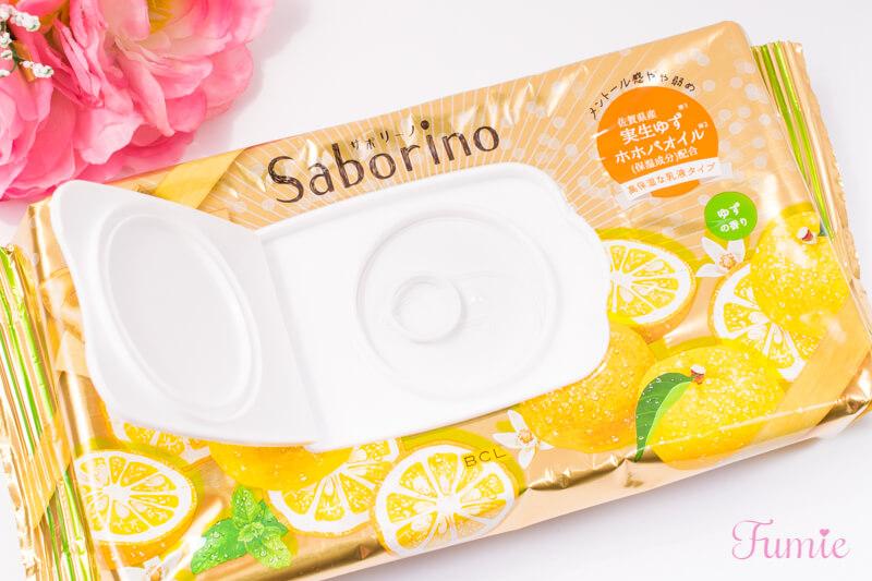 サボリーノ 目ざまシート 朝プレミアム 高保湿な乳液タイプ(ゆずの香り) フタを開けてみた