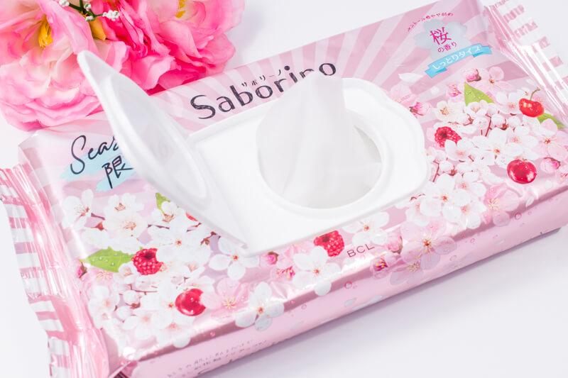 サボリーノ 目ざまシート しっとりタイプ(桜の香り) を1枚引っ張り出してみた